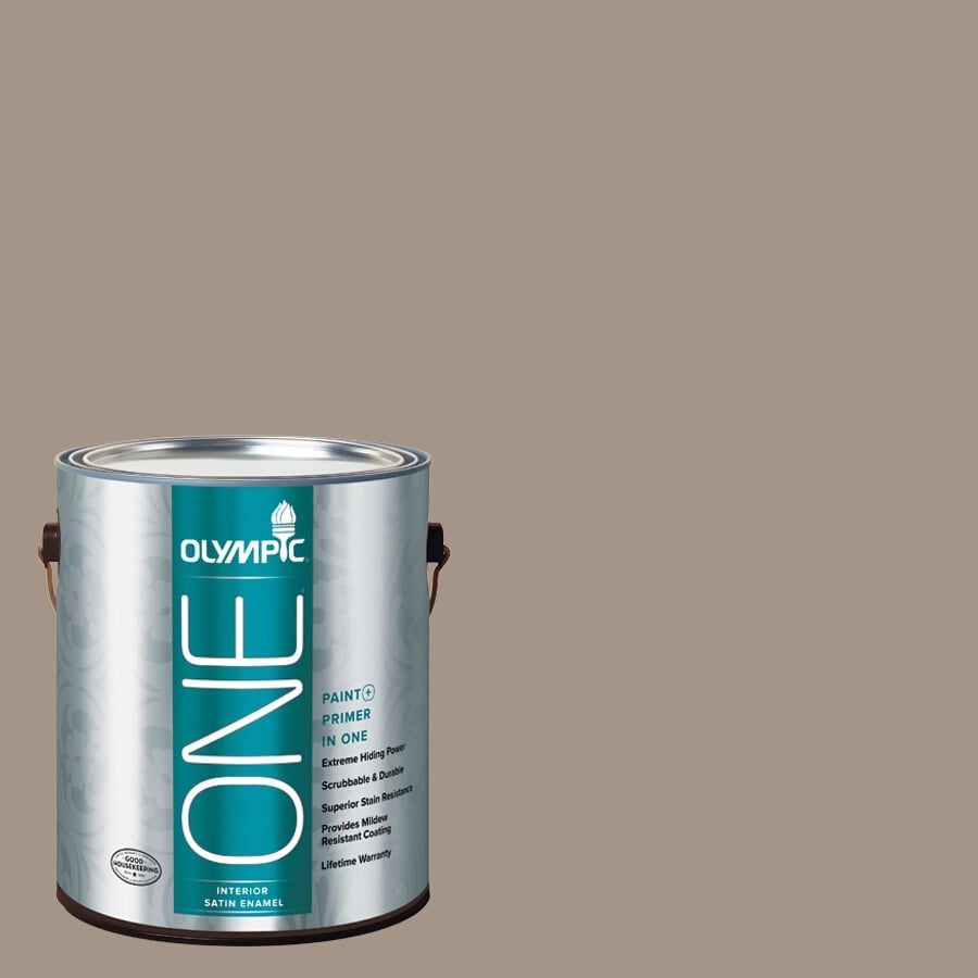 Olympic ONE Earl Gray Satin Latex Interior Paint and Primer In One (Actual Net Contents: 116-fl oz)