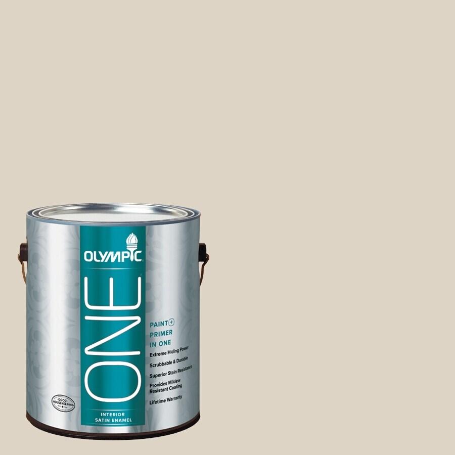 Olympic ONE Drifting Dune Satin Latex Interior Paint and Primer In One (Actual Net Contents: 124-fl oz)