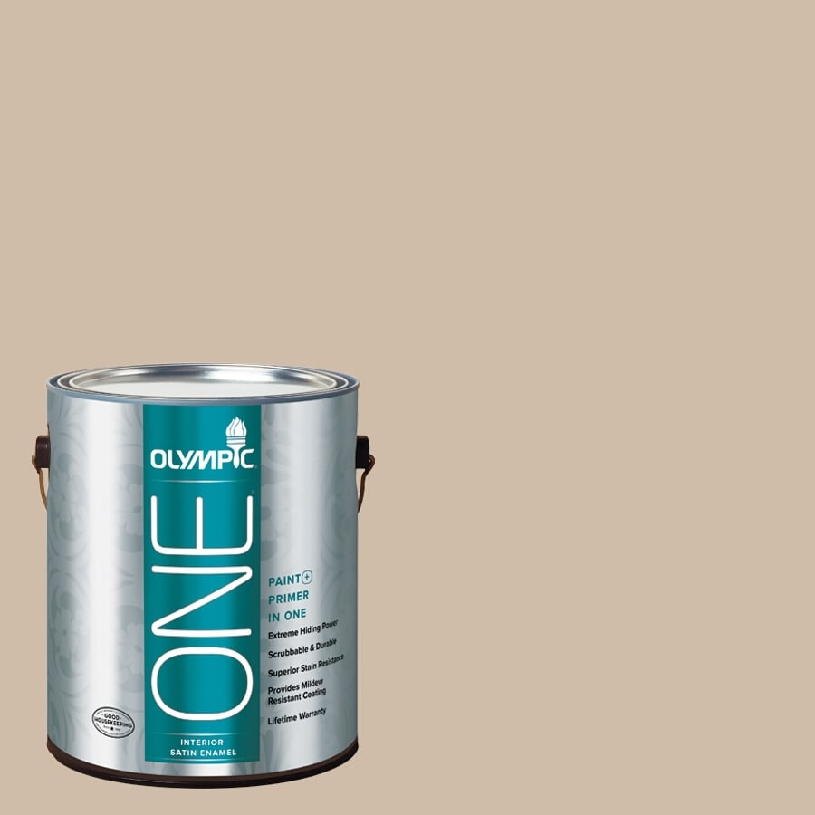Olympic ONE Camel Satin Latex Interior Paint and Primer In One (Actual Net Contents: 124-fl oz)