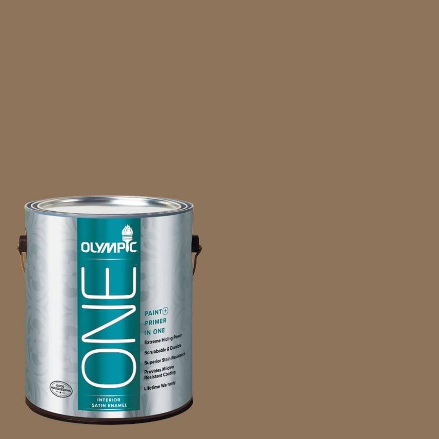 Olympic ONE Hat Box Brown Satin Latex Interior Paint and Primer In One (Actual Net Contents: 114-fl oz)