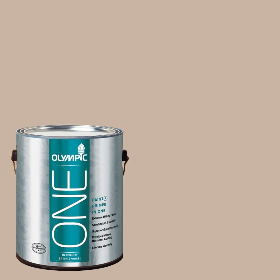 Olympic ONE Timeless Taupe Satin Latex Interior Paint and Primer In One (Actual Net Contents: 124-fl oz)