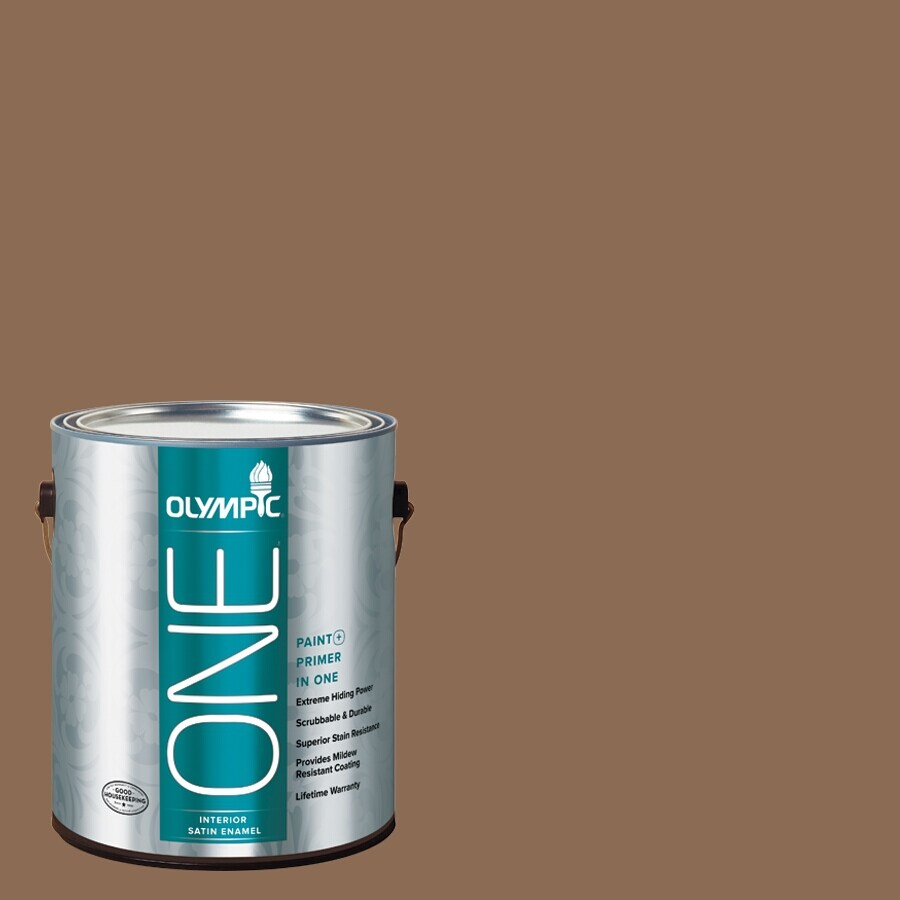 Olympic ONE Caravel Brown Satin Latex Interior Paint and Primer In One (Actual Net Contents: 114-fl oz)