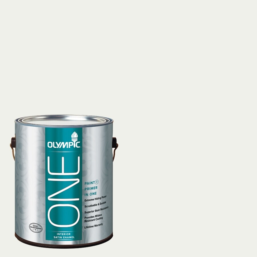 Olympic ONE Delicate White Satin Latex Interior Paint and Primer In One (Actual Net Contents: 124-fl oz)