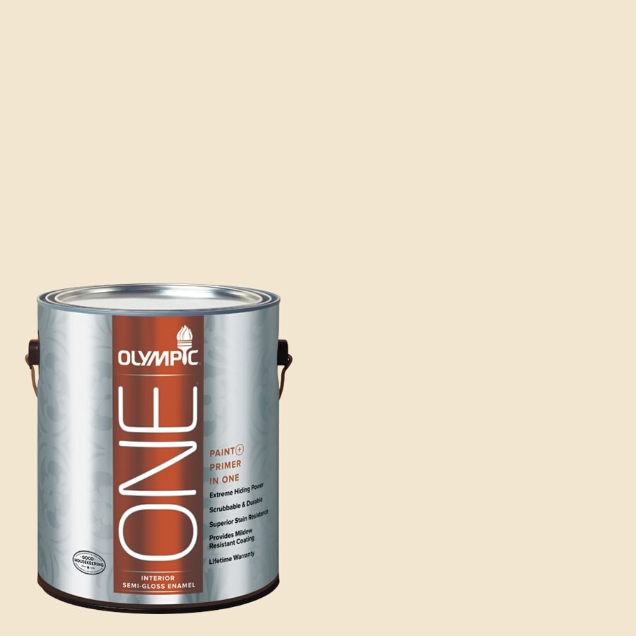 Olympic ONE Vanilla Wafer Semi-Gloss Latex Interior Paint and Primer In One (Actual Net Contents: 124-fl oz)