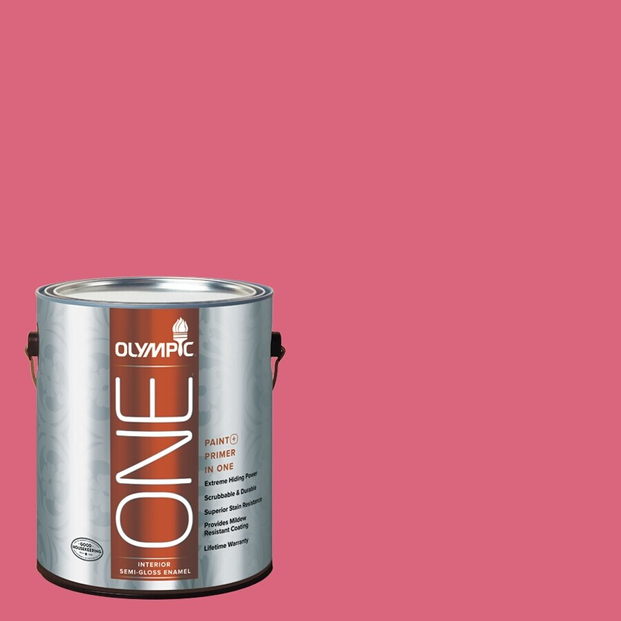 Olympic ONE Raspberry Rush Semi-Gloss Latex Interior Paint and Primer In One (Actual Net Contents: 114-fl oz)