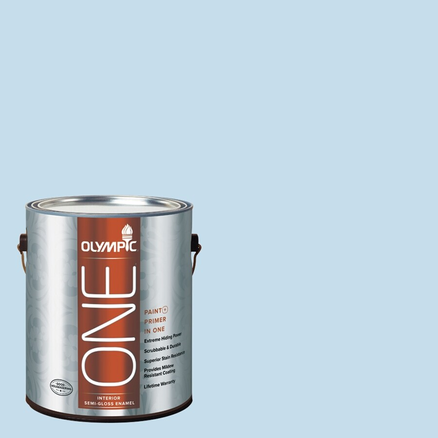 Olympic ONE Blue Booties Semi-Gloss Latex Interior Paint and Primer In One (Actual Net Contents: 124-fl oz)