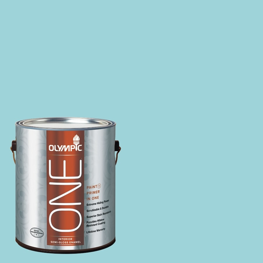 Olympic ONE South Pacific Semi-Gloss Latex Interior Paint and Primer In One (Actual Net Contents: 124-fl oz)