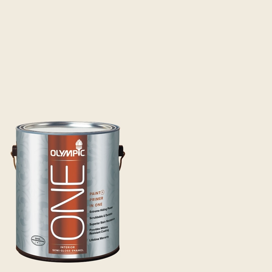 Olympic ONE Candlelit Beige Semi-Gloss Latex Interior Paint and Primer In One (Actual Net Contents: 124-fl oz)