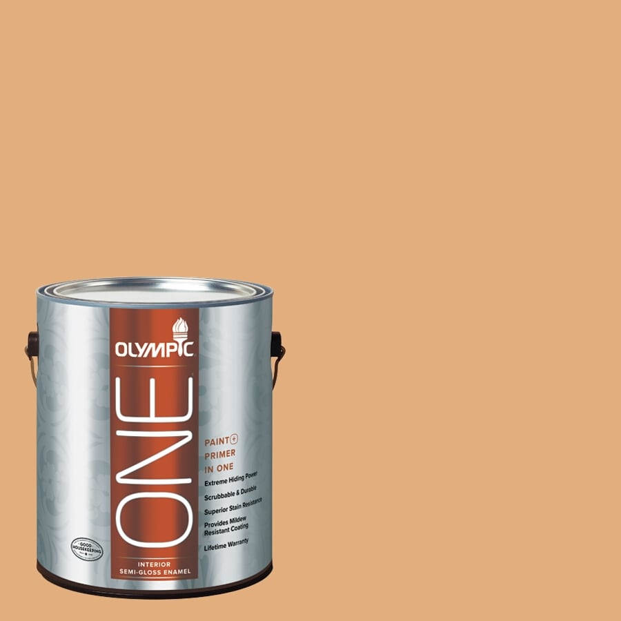 Olympic ONE Chocolate Turtle Semi-Gloss Latex Interior Paint and Primer In One (Actual Net Contents: 116-fl oz)