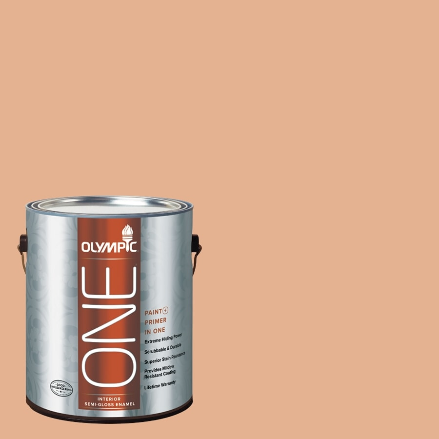 Olympic ONE Gentle Doe Semi-Gloss Latex Interior Paint and Primer In One (Actual Net Contents: 124-fl oz)