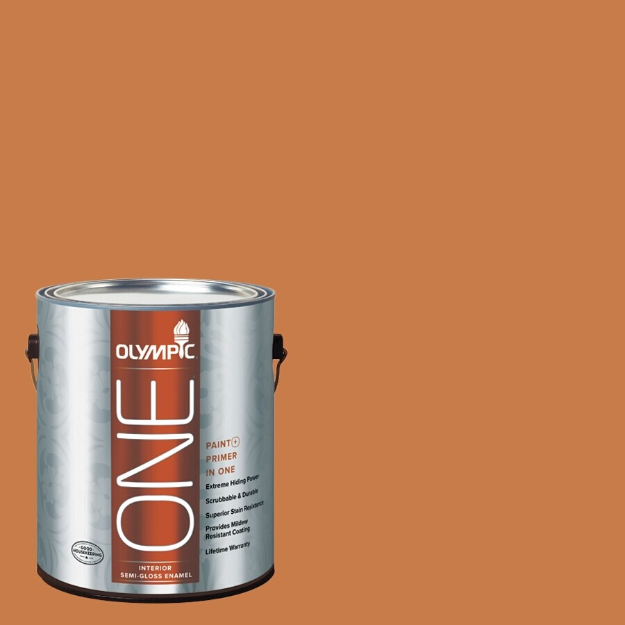 Olympic ONE Gingerbread Semi-Gloss Latex Interior Paint and Primer In One (Actual Net Contents: 114-fl oz)