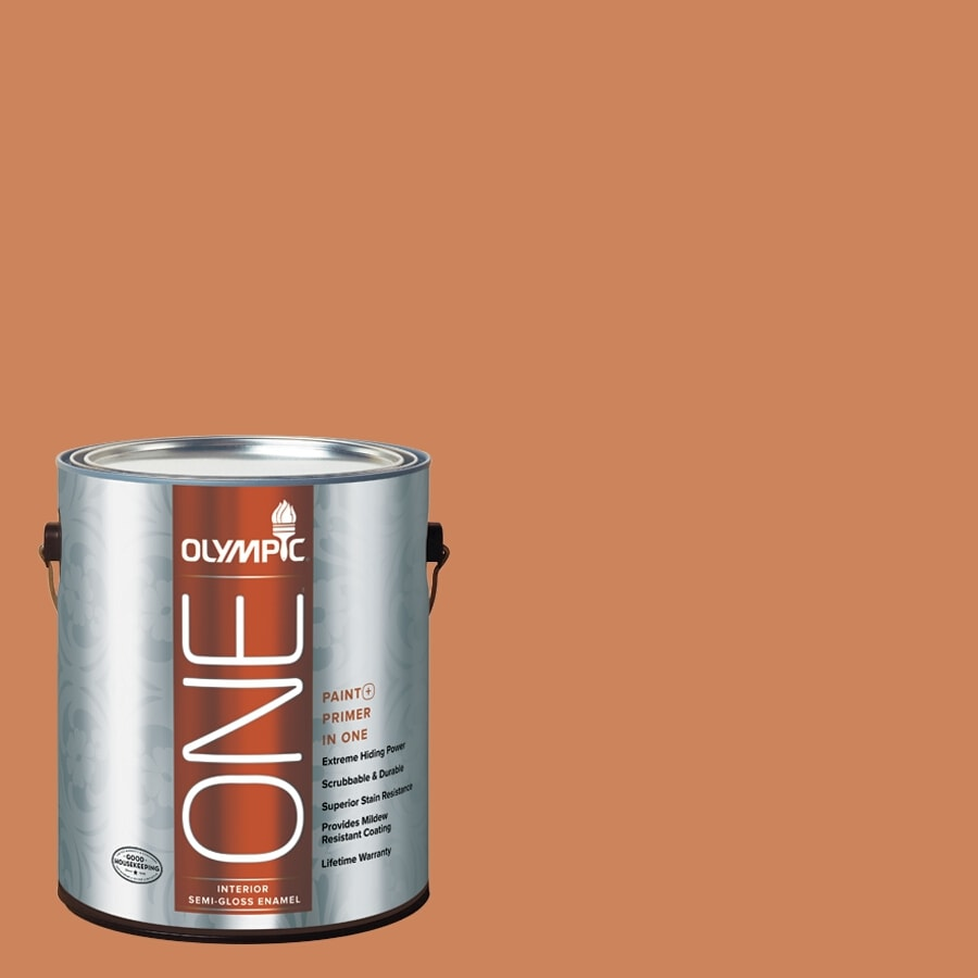 Olympic ONE Georgian Leather Semi-Gloss Latex Interior Paint and Primer In One (Actual Net Contents: 114-fl oz)