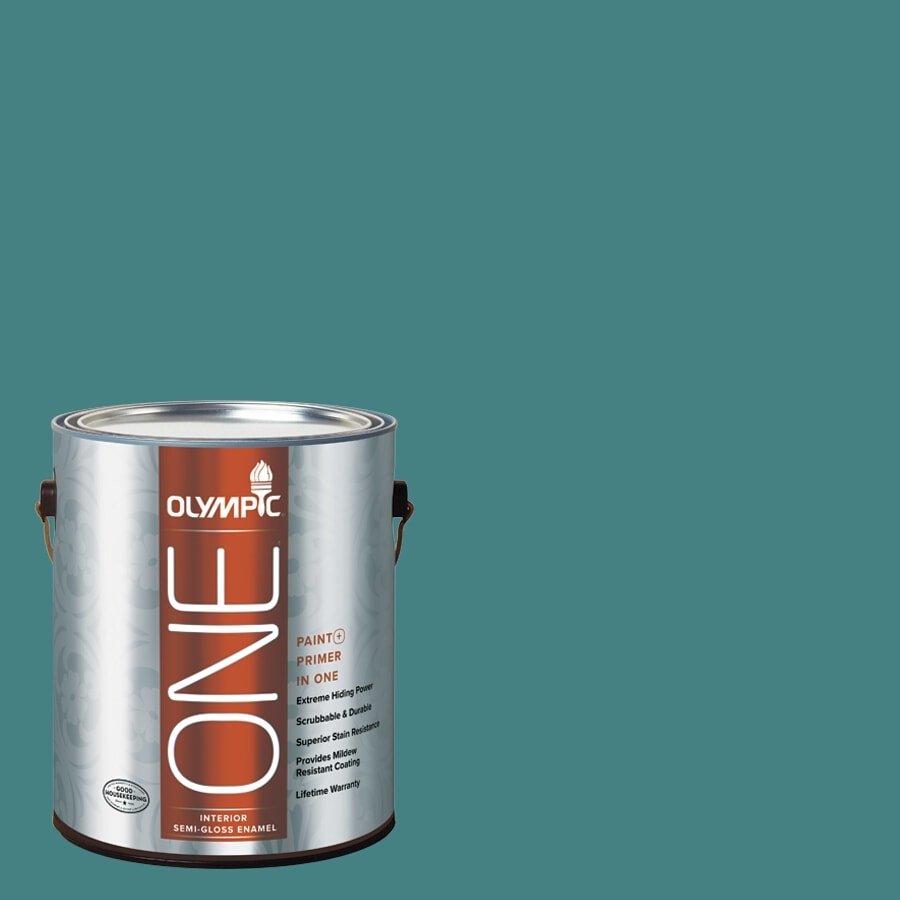 Olympic ONE Teal Zeal Semi-Gloss Latex Interior Paint and Primer In One (Actual Net Contents: 114-fl oz)