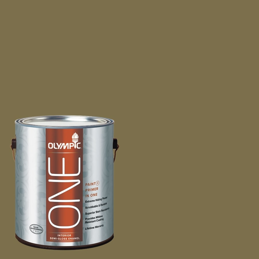 Olympic ONE Green Briar Semi-Gloss Latex Interior Paint and Primer In One (Actual Net Contents: 114-fl oz)