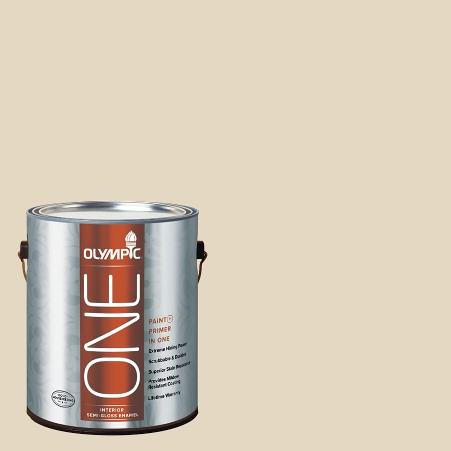 Olympic ONE Almond Paste Semi-Gloss Latex Interior Paint and Primer In One (Actual Net Contents: 124-fl oz)