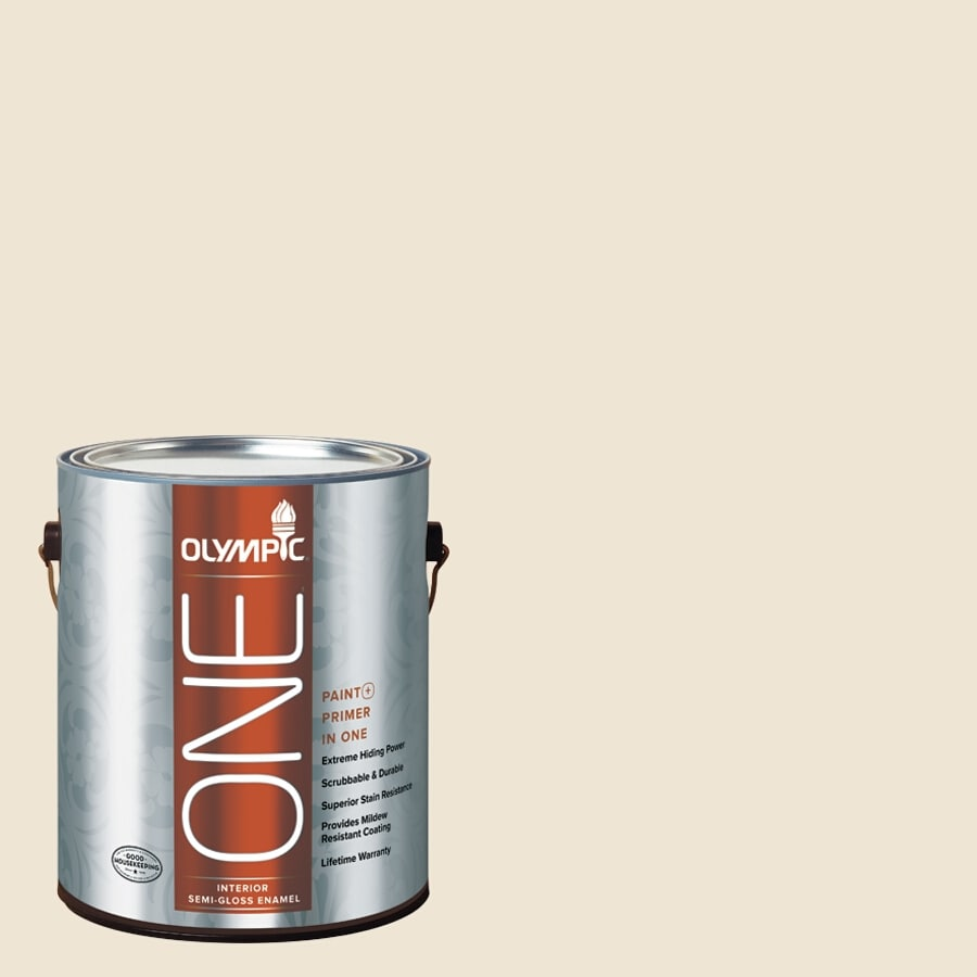 Olympic ONE Parchment Paper Semi-Gloss Latex Interior Paint and Primer In One (Actual Net Contents: 124-fl oz)