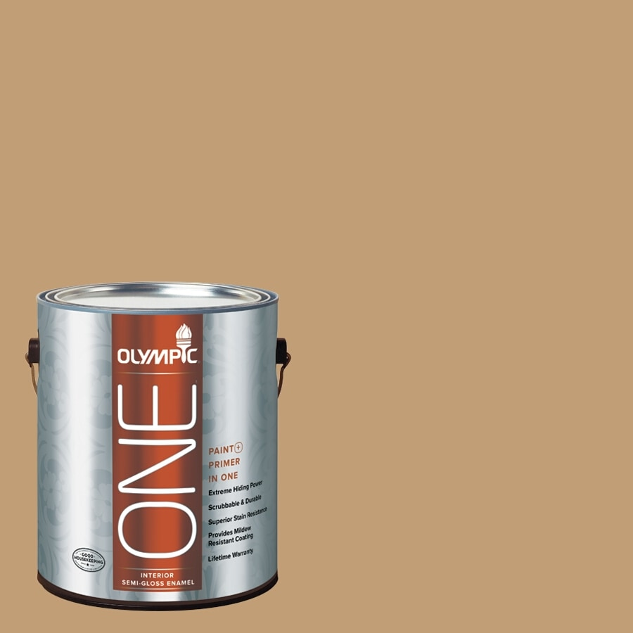 Olympic ONE Applesauce Cake Semi-Gloss Latex Interior Paint and Primer In One (Actual Net Contents: 116-fl oz)