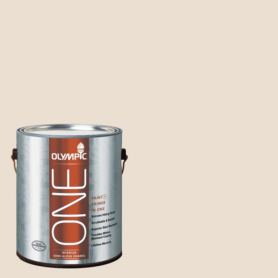 Olympic ONE Baked Brie Semi-Gloss Latex Interior Paint and Primer In One (Actual Net Contents: 124-fl oz)