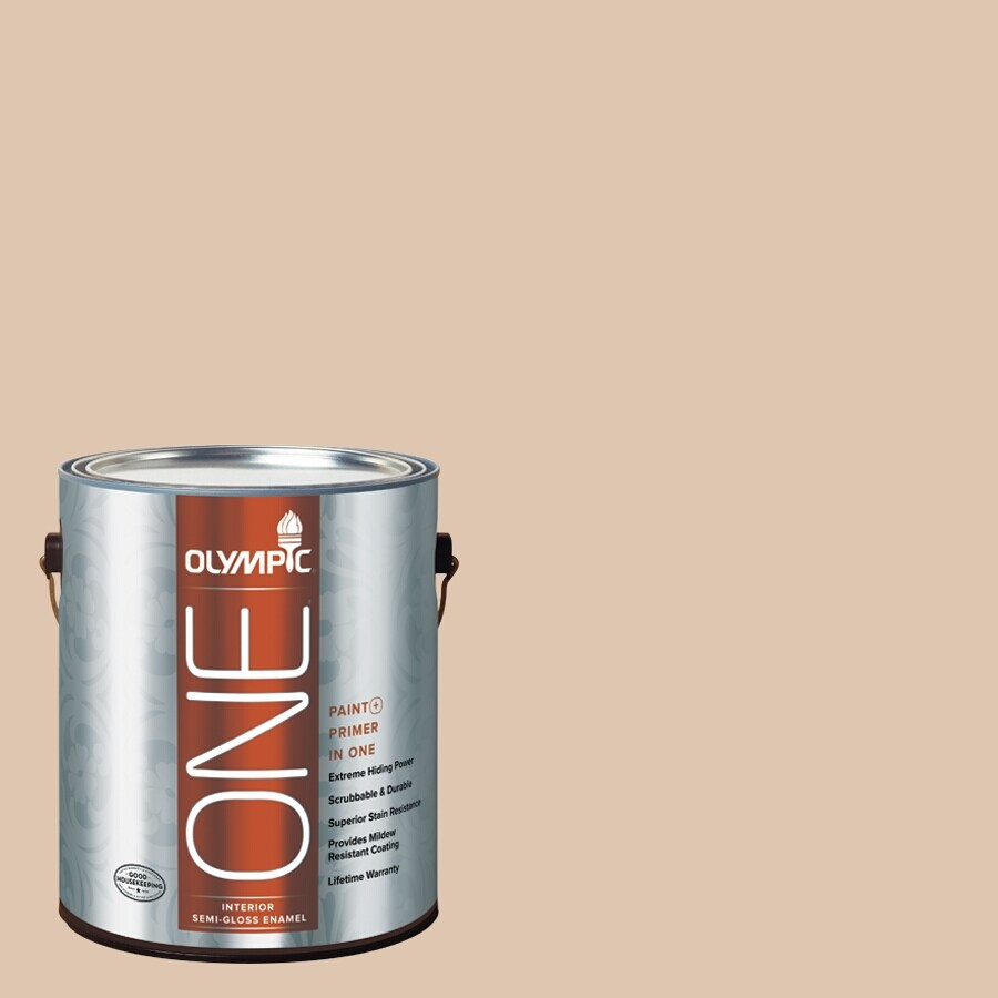 Olympic ONE Arabian Sands Semi-Gloss Latex Interior Paint and Primer In One (Actual Net Contents: 124-fl oz)