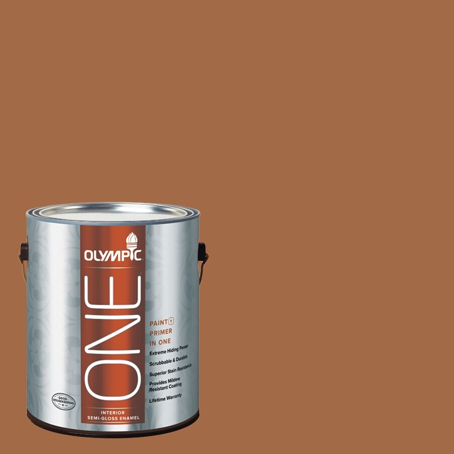 Olympic ONE Ginger Spice Semi-Gloss Latex Interior Paint and Primer In One (Actual Net Contents: 114-fl oz)