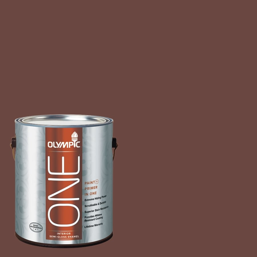 Olympic ONE Warm Mahogany Semi-Gloss Latex Interior Paint and Primer In One (Actual Net Contents: 114-fl oz)