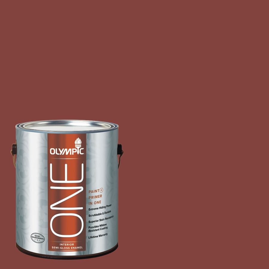 Olympic ONE Brick Dust Semi-Gloss Latex Interior Paint and Primer In One (Actual Net Contents: 114-fl oz)