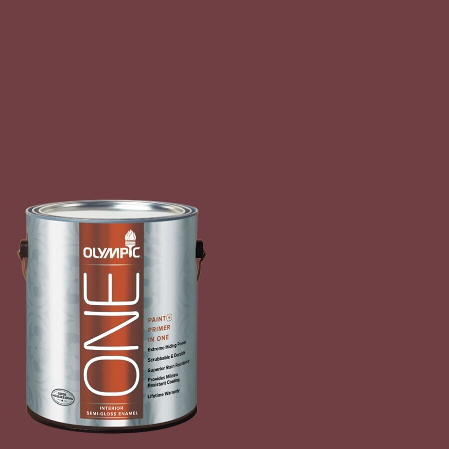 Olympic ONE Merlot Semi-Gloss Latex Interior Paint and Primer In One (Actual Net Contents: 114-fl oz)