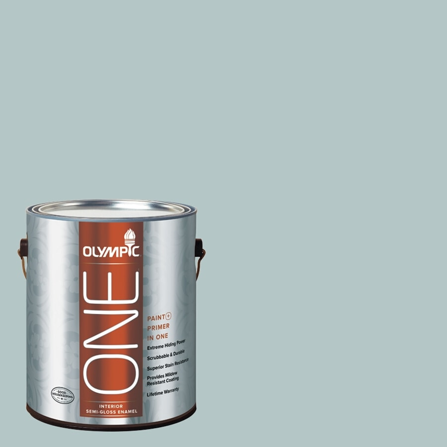 Olympic ONE Misty Surf Semi-Gloss Latex Interior Paint and Primer In One (Actual Net Contents: 124-fl oz)