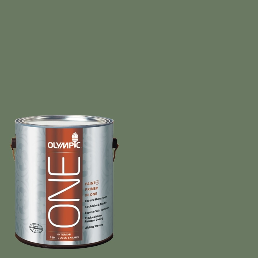 Olympic ONE Chives Semi-Gloss Latex Interior Paint and Primer In One (Actual Net Contents: 114-fl oz)