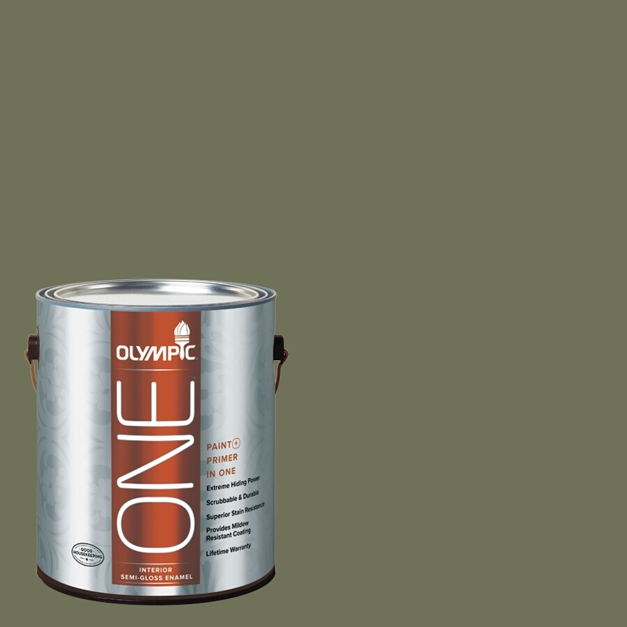 Olympic ONE Dark Sage Semi-Gloss Latex Interior Paint and Primer In One (Actual Net Contents: 114-fl oz)