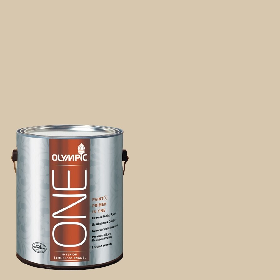 Olympic ONE Classic Khaki Semi-Gloss Latex Interior Paint and Primer In One (Actual Net Contents: 124-fl oz)