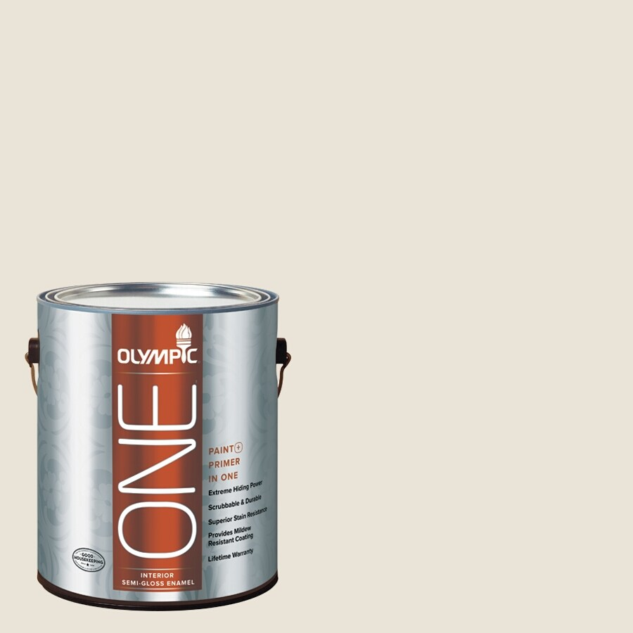 Olympic ONE China White Semi-Gloss Latex Interior Paint and Primer In One (Actual Net Contents: 124-fl oz)