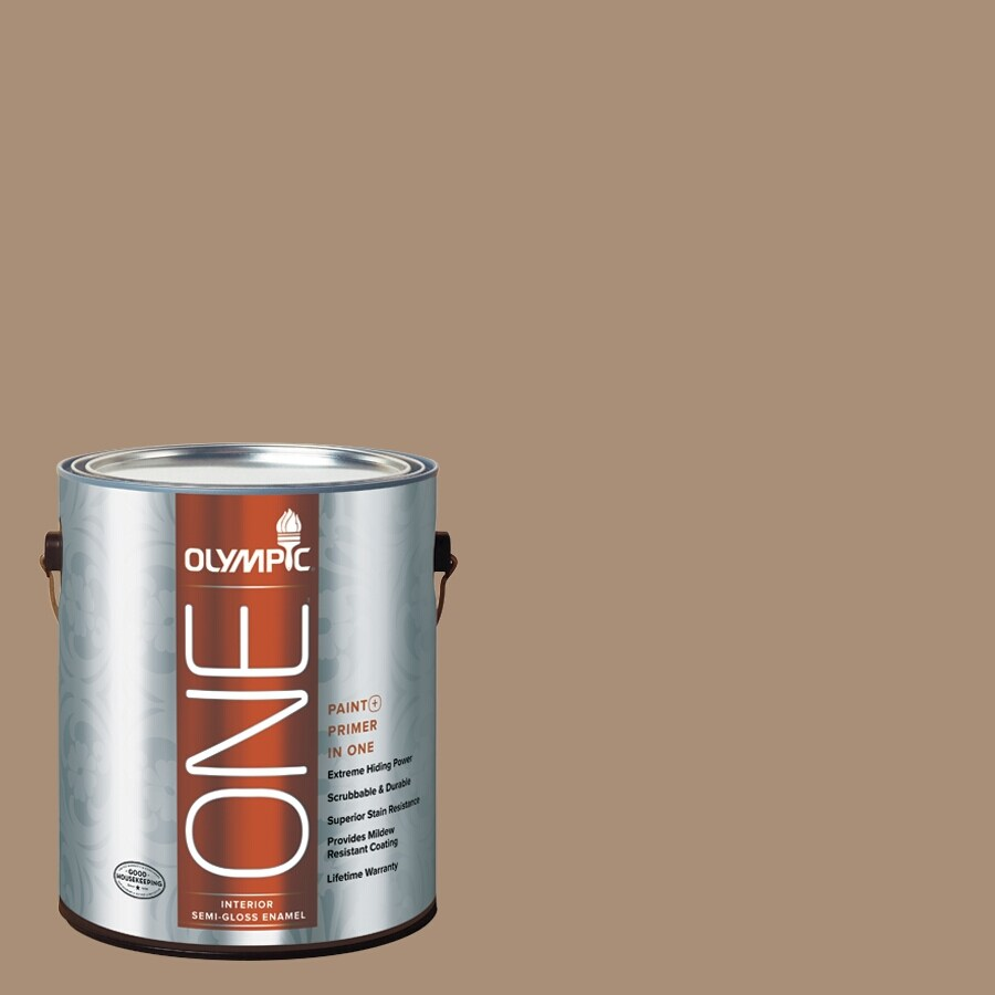 Olympic ONE Sauteed Mushroom Semi-Gloss Latex Interior Paint and Primer In One (Actual Net Contents: 116-fl oz)