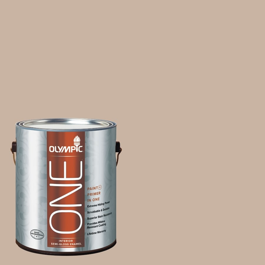 Olympic ONE Timeless Taupe Semi-Gloss Latex Interior Paint and Primer In One (Actual Net Contents: 124-fl oz)