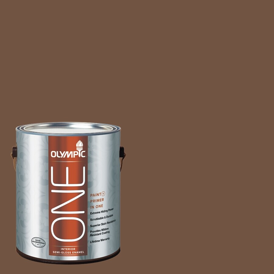 Olympic ONE Chocolate Kiss Semi-Gloss Latex Interior Paint and Primer In One (Actual Net Contents: 114-fl oz)