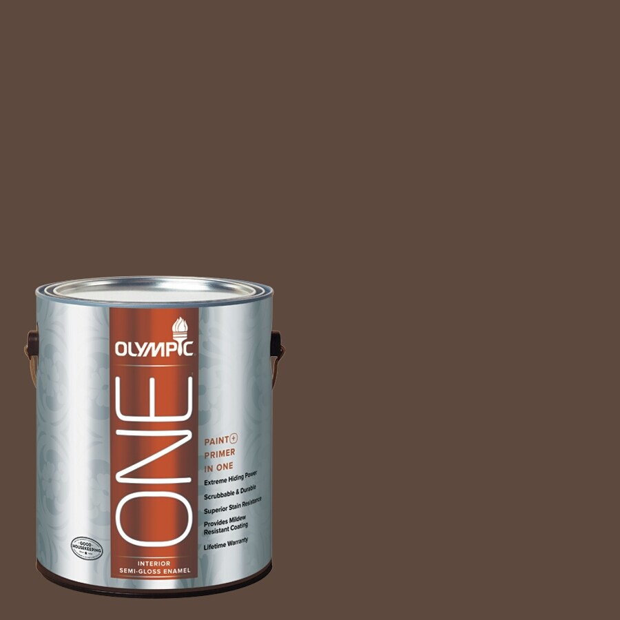 Olympic ONE Fudge Truffle Semi-Gloss Latex Interior Paint and Primer In One (Actual Net Contents: 114-fl oz)