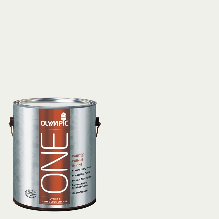 Olympic ONE Delicate White Semi-Gloss Latex Interior Paint and Primer In One (Actual Net Contents: 124-fl oz)