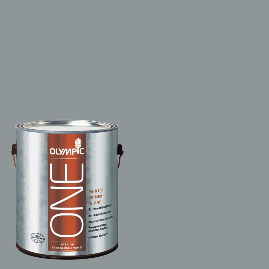 Olympic ONE Steeple Gray Semi-Gloss Latex Interior Paint and Primer In One (Actual Net Contents: 116-fl oz)
