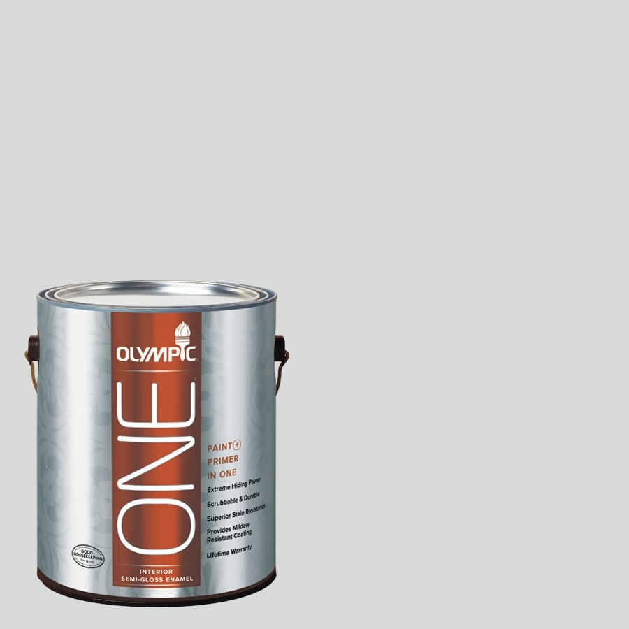 Olympic ONE Thin Ice Semi-Gloss Latex Interior Paint and Primer In One (Actual Net Contents: 124-fl oz)