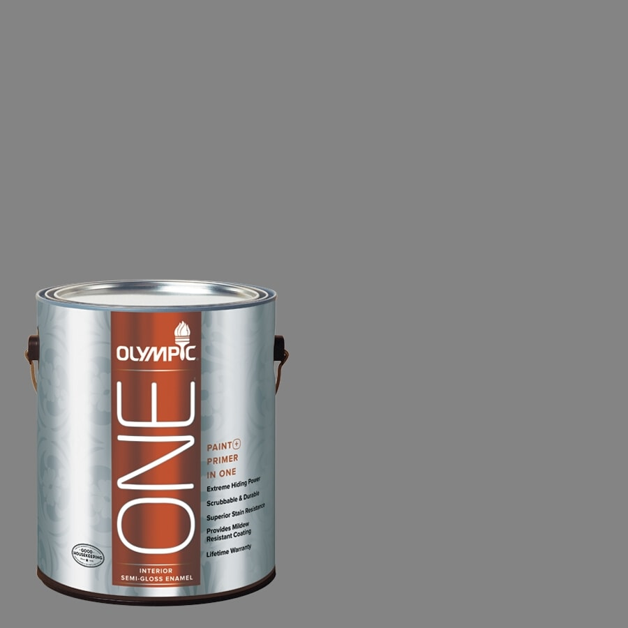 Olympic ONE Dover Gray Semi-Gloss Latex Interior Paint and Primer In One (Actual Net Contents: 116-fl oz)
