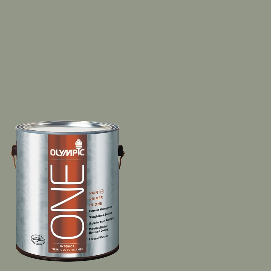 Olympic ONE Green Tea Leaf Semi-Gloss Latex Interior Paint and Primer In One (Actual Net Contents: 116-fl oz)