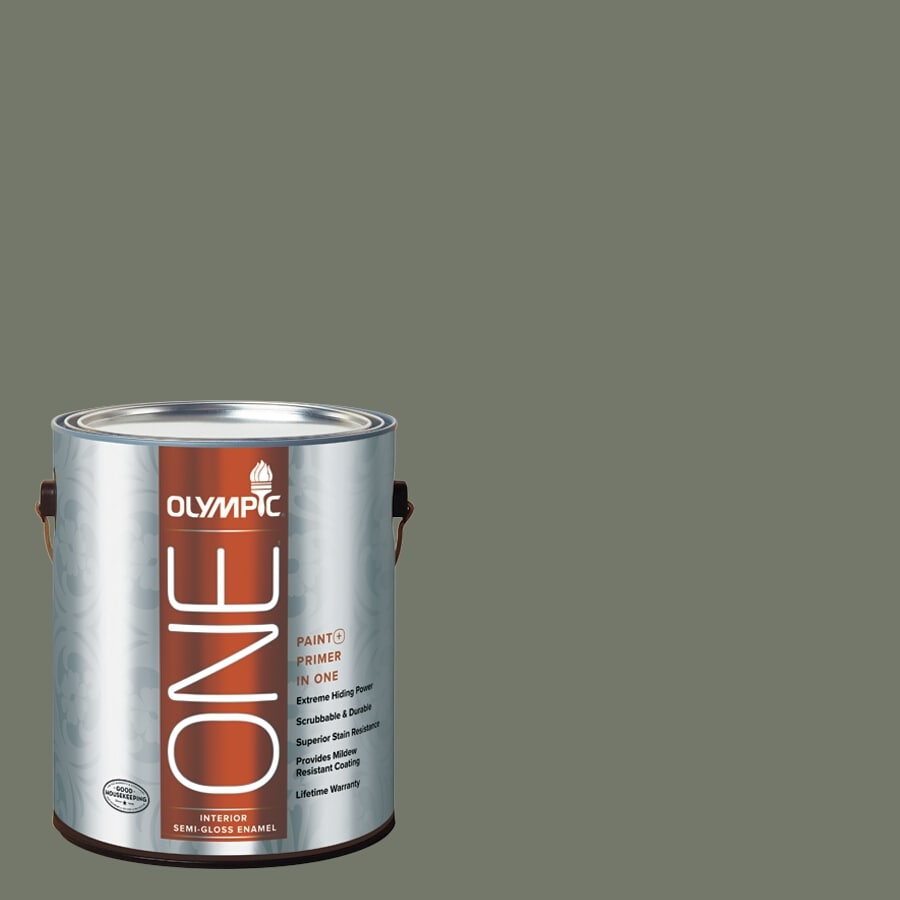 Olympic ONE Thyme Green Semi-Gloss Latex Interior Paint and Primer In One (Actual Net Contents: 114-fl oz)