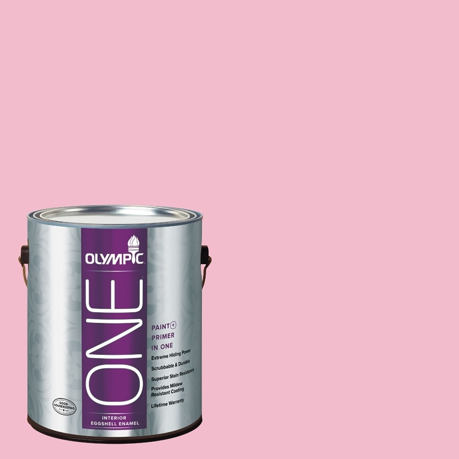 Olympic ONE Pink Persuasion Eggshell Latex Interior Paint and Primer In One (Actual Net Contents: 124-fl oz)