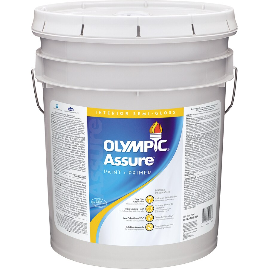 Olympic White Semi-Gloss Latex Interior Paint and Primer in One (Actual Net Contents: 620-fl oz)