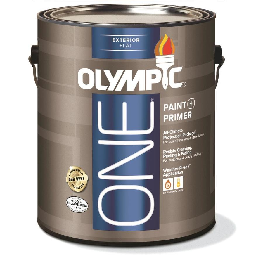 Olympic ONE Base 1/Ultra White Flat Latex Exterior Paint (Actual Net Contents: 124-fl oz)