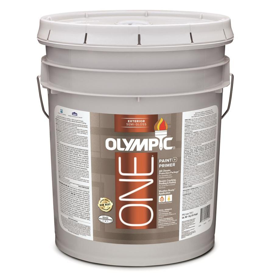 Shop olympic one base 1 ultra white semi gloss acrylic exterior paint actual net contents 619 - Exterior white gloss paint image ...