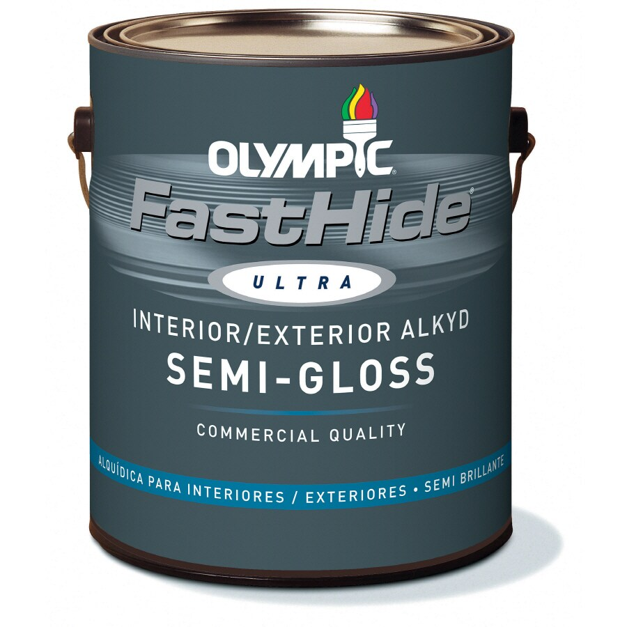 FastHide 1-Gallon Interior/Exterior Semi-Gloss White Oil-Base Paint