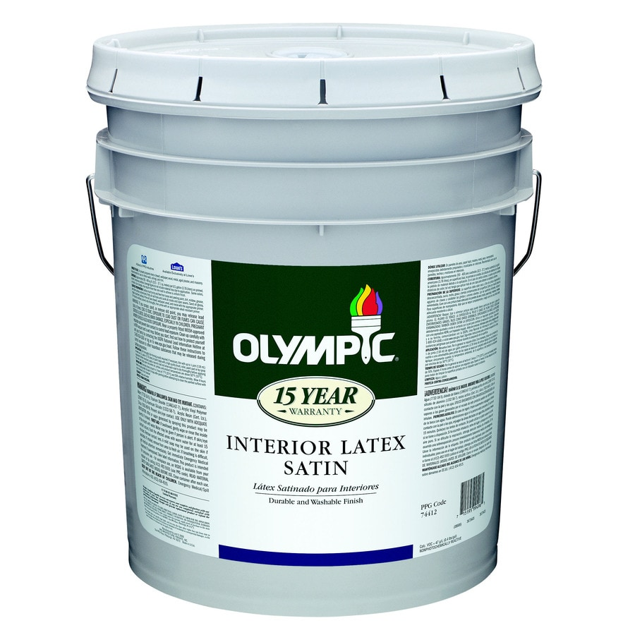Shop Olympic 5 Gallon Interior Satin White Latex Base Paint At