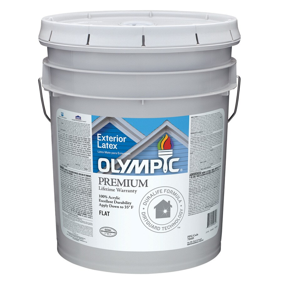 Shop Olympic White Flat Latex Exterior Paint Actual Net Contents 580 Fl Oz At