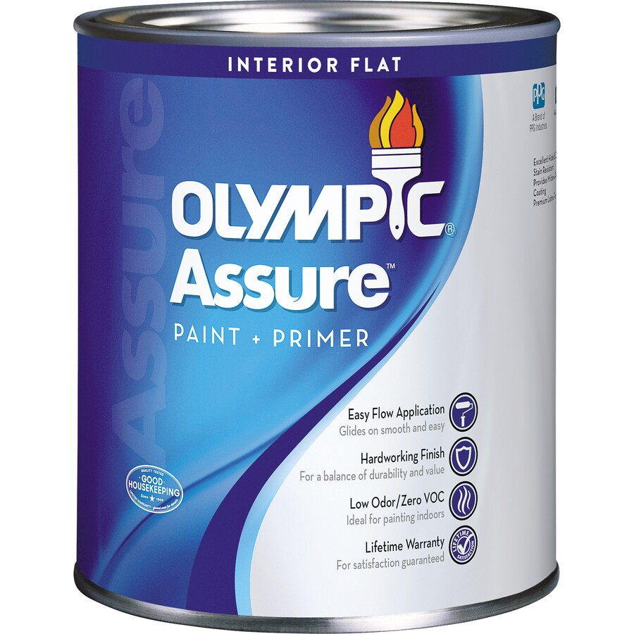 shop olympic white flat latex interior paint and primer in one actual. Black Bedroom Furniture Sets. Home Design Ideas